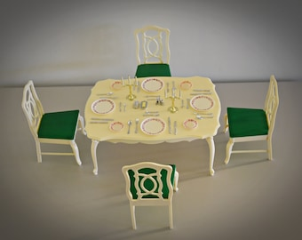 Vintage Sindy Pedigree Dinning Table and Chairs + Accessories / No 44582