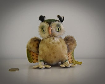 Vintage original Steiff Owl Wittie / Owl / Mohair / + button in earpiece and label / 4314.00