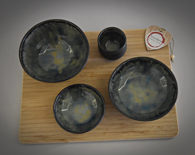 Set of 3 unique handmade tapas Bowls + toothpick Holder/dishes/ceramics-stoneware (signed)