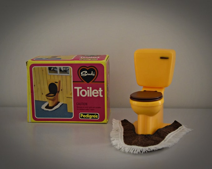 Vintage Sindy Pedigree Toilet + Matching Toilet Mat # 44551 / Original Box / Bathroom Furniture of Sindy doll / Orange Plastic