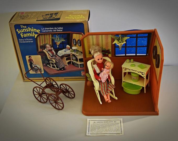 Vintage Mattel Sunshine Family Baby's Room/ # 9804/1973 - 1976 / Original Box / Mama + Baby + Accessories