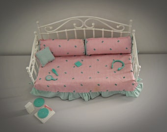 Vintage Sindy Day Dreaming bed - sofa + original accessories/bedroom furniture/#7142/Hasbro /1989