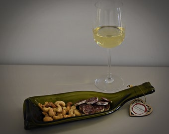 Slumped bottle/Recycled wine bottle/Chateauneuf du pape/serve dish/aperitif dish/decoration/wine lover gift/Green
