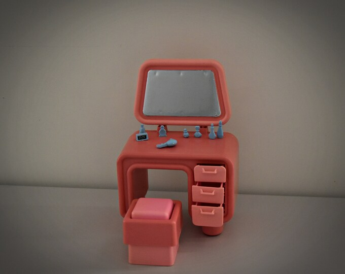 Vintage Mattel Barbie Dream Furniture Collection Vanity & Seat / 1977 / + Accessories