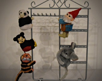 Vintage pinch-dolls/Clip-on/Panda-Mickey Mouse-Garfield-gnome-elephant/back in the ' 80...