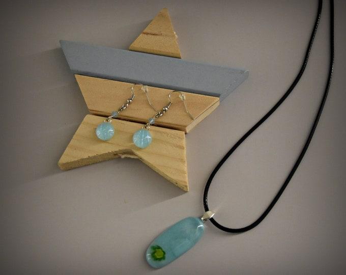 Dichroic glass pendant + matching earrings with Swarovski toupies/glass Jewel/Millefiori flower/Turquoise