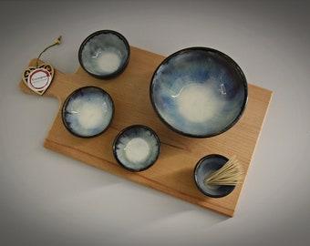 Set of 4 unique hand-turned tapas bowls + toothpick holder / bowls / ceramics - stone goods (signed)