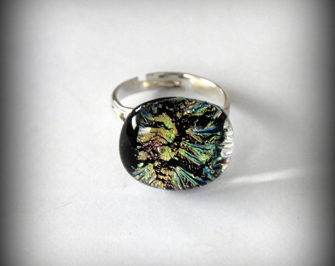 Dichroic Glass Adjustable ring/glass jewel