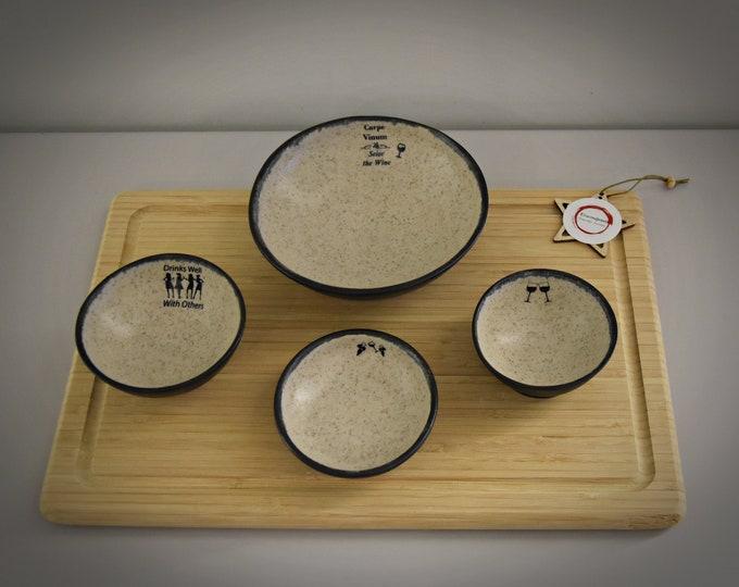 Set of 4 unique hand-turned tapas bowls / decorative bowls / + decals wine / ceramics / stoneware / signed.