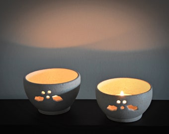 Set of 2 unique hand-turned tea lights with carved holly leaf-ceramics-pottery