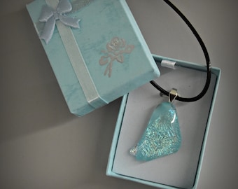 Dichroic glass pendant/glass jewel/tack-fuse/turquoise with beautiful sparkle