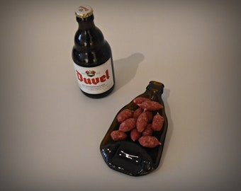 Slumped bottle/recycled Duvel bottle/serve dish/decoration/tea light holder/spoon rest