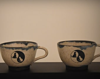 "Unique Handmade ceramic Espresso bags/Coffee bags/cup/stoneware/decal Yin Yang ""Cat & Dog""/signed."