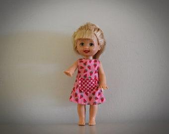 Vintage Barbie Little Sister Kelly / Mattel / Super pretty Strawberry dress with pink label Genuine / 1994