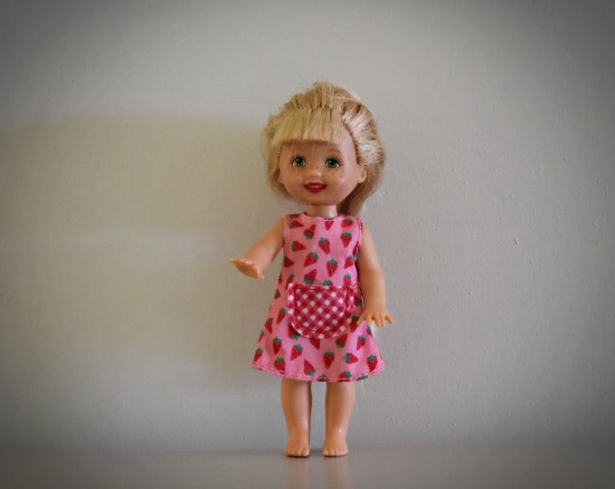 Vintage Barbie Little Sister Kelly / Mattel / Super pretty Strawberry dress with pink label Genuine / 1994