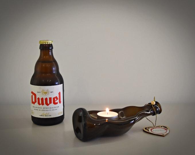 Slumped bottle / unique recycled Duvel bottle / serving dish / decoration / tealight holder