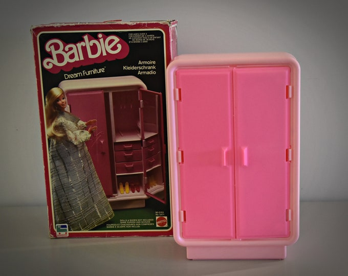 Vintage Mattel Barbie Dream Furniture Collection/Armoire #2471 with 6 clothes hangers/1978/original Box