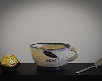 "Unique hand-turned ceramic Espresso cup/coffee cup/cup/stoneware/decal ""Believe""/signed."