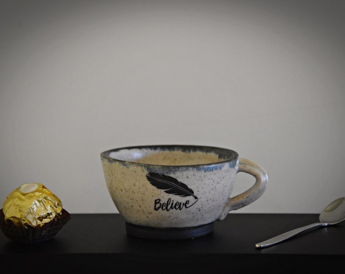"""Unique hand-turned ceramic Espresso cup/coffee cup/cup/stoneware/decal """"Believe""""/signed."""