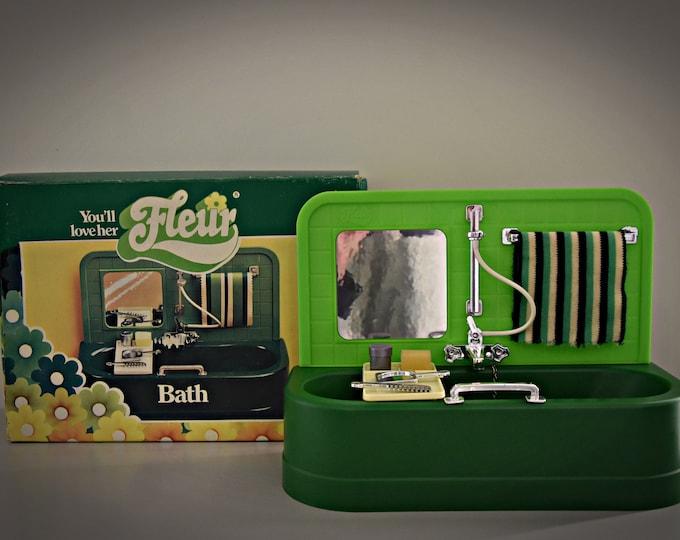 Vintage Fleur (Dutch Sindy) bath with all accessories/original box/very good condition/bathroom furniture