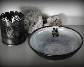 Unique handmade tapas Bowl/decorative plate/decal cat-puss/ceramic/stoneware/Signed.