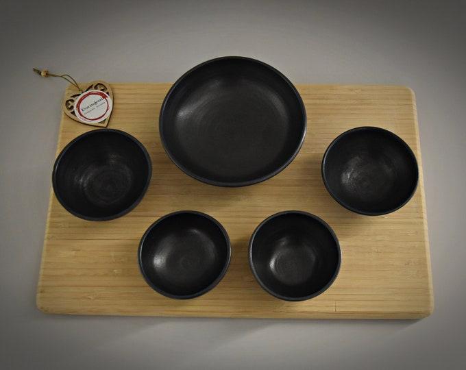 Set of 5 unique hand-turned tapas bowls / bowls / ceramics - stone goods (signed) / brilliant anthracite mat