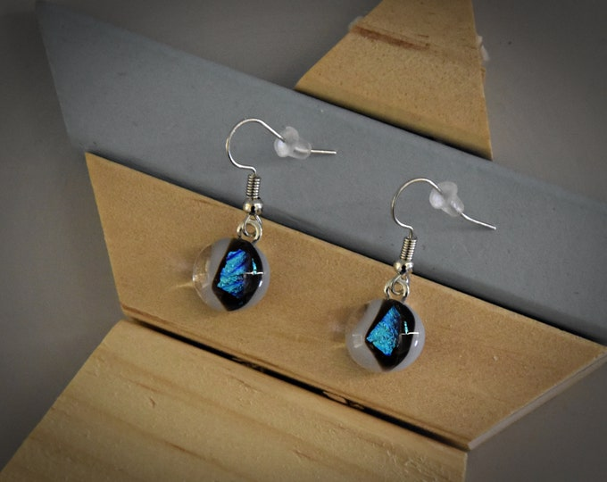 Dichroic Earrings/earrings/glass jewellery/Base opal white with beautiful blue brilliance and black finish