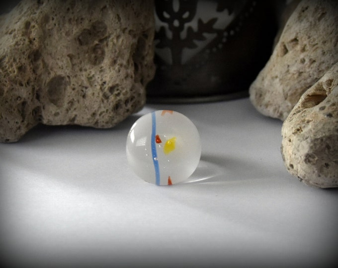 Summer Adjustable ring/bullseye glass/Opal white speckled