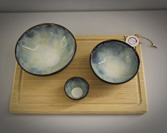 Set of 2 unique hand-turned tapas bowls + small bowl for dipping sauce/ bowls / aperitif set / ceramic - stoneware