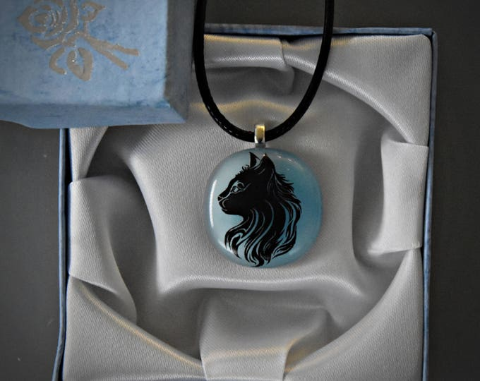 Glass pendant with decal puss/cat-Glass Jewel