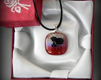 """Dichroic Glass pendant with decal """"the rose""""/glass jewel/Valentine"""