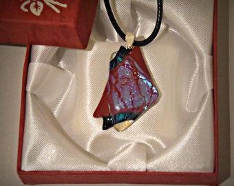 Dichroic glass pendant/glass jewel/tack-fuse/black-red-glare