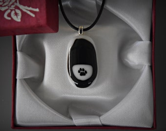 Glass pendant with decal cat paw/glass jewel/Black and white/cat lover Gift