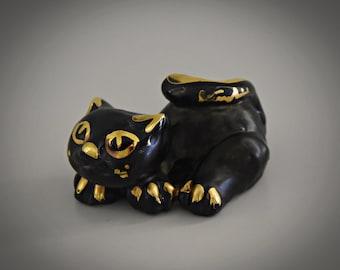 Unique vintage ceramic cat figurine / Romulus Renzo Verzolini / Italian Art / Questa Maiolica / singed