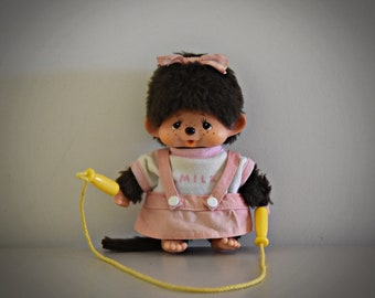 Vintage baby Monchhichi ± 13cm / super cute Monchhichi with outfit and skipping rope / Sekiguchi Japan / 1974