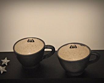 """Unique Handmade ceramic Espresso bags/stoneware/decal """"Four Black Cats""""/signed."""