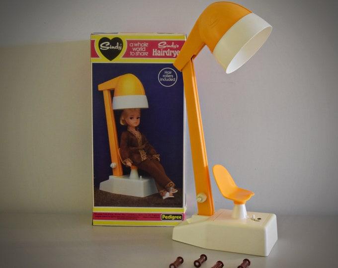 Vintage Sindy Pedigree Hairdryer + 4 Curlers / Bathroom Furniture Sindy Doll #44524 / Original Box / Orange Plastic
