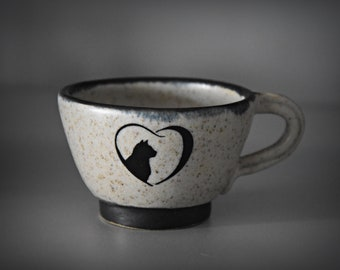 Unique handmade espresso coffee bag/cup/stoneware/decal cat lover/signed/cat lover Gift