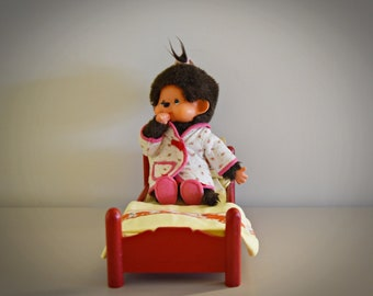 Very nice vintage Monchhichi ± 21 cm / Girl / + cute dressing gown and felt slippers / Sekiguchi Japan / 1974