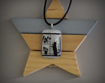 Dichroic Glass pendant decal puss/CAT/kitten/Cat Lover Gift