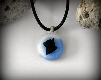 Glass pendant with decal cat/cat-glass jewel