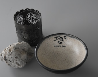 "Unique handmade tapas bowl/decorative dish/decal Panda ""Hang in There""/ceramic/stoneware/signed."