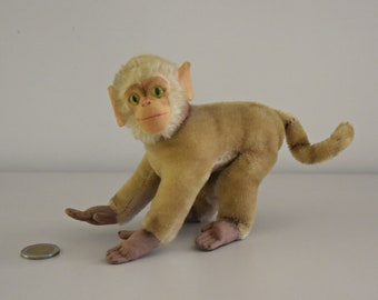 Vintage original Steiff Coco / #1322-00 / super cute baboon / Mohair Monkey / button in earpiece, label and breast label missing / 50s