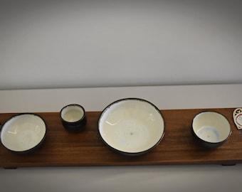 Set of 3 unique hand-turned tapas bowls + toothpick holder / bowls / aperitif set / ceramic - stoneware (signed)