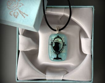 Dichroic Glass pendant-glass jewel with decal cat/puss/Turquoise/cat Lover Gift