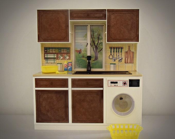 Vintage Sindy Pedigree Washing Machine Unit + Original Accessories / #44486 / Collectors Item