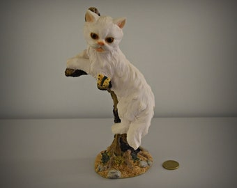 Unique Vintage Female figurine/cat in tree with butterfly/decoration/cat Lover gift/Collectors Item