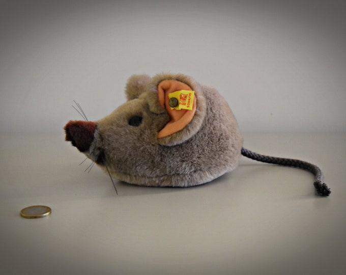 Vintage original Steiff Cosy Fiep / cute mouse / button in ear and yellow label / 5394/15 - 80s / West Germany