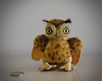 Vintage original Steiff Owl Wittie / mini owl ± 10cm (3.5 Inch)/ Mohair / + knob in wing