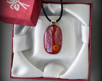 Dichroic Glass pendant/millefiori/glass jewel/Valentine